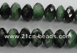 CRZ703 15 inches 6*10mm faceted rondelle ruby zoisite gemstone beads