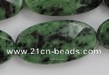 CRZ715 15 inches 20*40mm faceted oval ruby zoisite gemstone beads