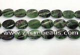 CRZ796 15.5 inches 18*25mm twisted oval ruby zoisite gemstone beads