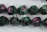 CRZ904 15.5 inches 12mm faceted nuggets Chinese ruby zoisite beads