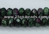 CRZ910 15.5 inches 5*8mm faceted rondelle Chinese ruby zoisite beads