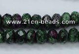CRZ911 15.5 inches 6*10mm faceted rondelle Chinese ruby zoisite beads
