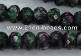 CRZ916 15.5 inches 15*20mm faceted rondelle Chinese ruby zoisite beads