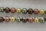 CSB1016 15.5 inches 6mm round mixed color shell pearl beads