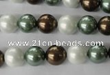 CSB1053 15.5 inches 10mm round mixed color shell pearl beads