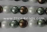 CSB1055 15.5 inches 10mm round mixed color shell pearl beads