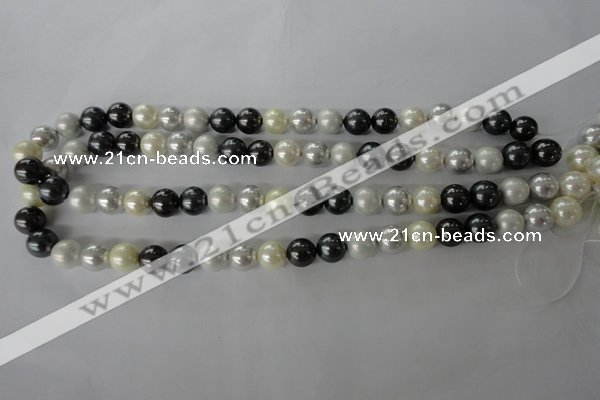 CSB1056 15.5 inches 10mm round mixed color shell pearl beads