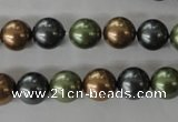 CSB1057 15.5 inches 10mm round mixed color shell pearl beads