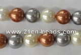 CSB1073 15.5 inches 10mm round mixed color shell pearl beads