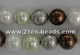 CSB1090 15.5 inches 12mm round mixed color shell pearl beads