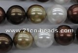 CSB1122 15.5 inches 14mm round mixed color shell pearl beads