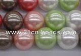 CSB1138 15.5 inches 14mm round mixed color shell pearl beads