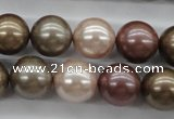CSB1141 15.5 inches 14mm round mixed color shell pearl beads