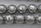 CSB1190 15.5 inches 14mm faceted round shell pearl beads