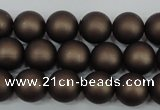 CSB1330 15.5 inches 4mm matte round shell pearl beads wholesale