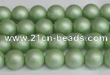 CSB1390 15.5 inches 4mm matte round shell pearl beads wholesale