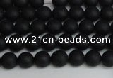 CSB1455 15.5 inches 4mm matte round shell pearl beads wholesale