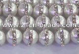 CSB1500 15.5 inches 6mm round shell pearl with rhinestone beads