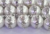 CSB1502 15.5 inches 10mm round shell pearl with rhinestone beads