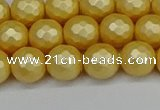CSB1812 15.5 inches 8mm faceetd round matte shell pearl beads