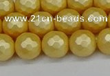 CSB1813 15.5 inches 10mm faceetd round matte shell pearl beads