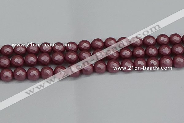 CSB1874 15.5 inches 12mm faceetd round matte shell pearl beads