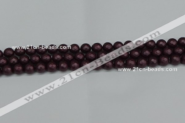 CSB1881 15.5 inches 6mm faceted round matte shell pearl beads