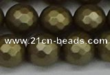CSB1915 15.5 inches 14mm faceted round matte shell pearl beads