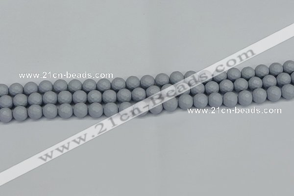 CSB1931 15.5 inches 6mm faceted round matte shell pearl beads
