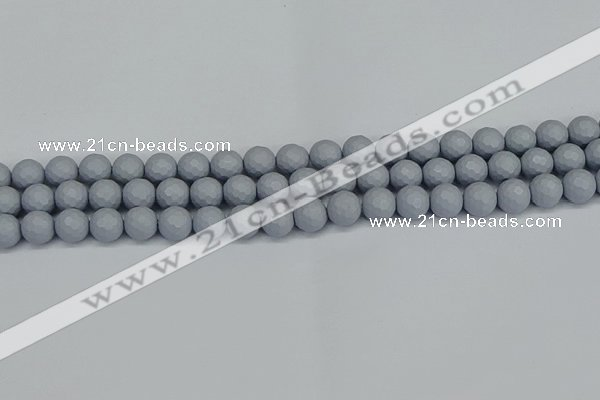 CSB1932 15.5 inches 8mm faceted round matte shell pearl beads
