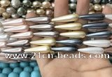 CSB2150 15.5 inches 8*30mm teardrop mixed shell pearl beads