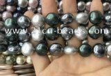 CSB2154 15.5 inches 16mm flat round mixed shell pearl beads