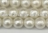 CSB2201 15.5 inches 6mm round wrinkled shell pearl beads wholesale