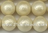 CSB2213 15.5 inches 10mm round wrinkled shell pearl beads wholesale
