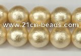 CSB2222 15.5 inches 8mm round wrinkled shell pearl beads wholesale
