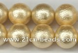 CSB2223 15.5 inches 10mm round wrinkled shell pearl beads wholesale