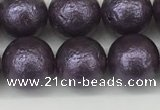 CSB2273 15.5 inches 10mm round wrinkled shell pearl beads wholesale