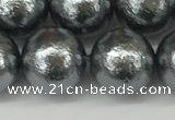 CSB2295 15.5 inches 14mm round wrinkled shell pearl beads wholesale
