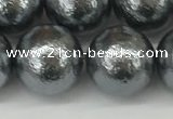 CSB2296 15.5 inches 16mm round wrinkled shell pearl beads wholesale