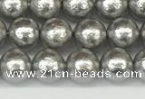 CSB2301 15.5 inches 6mm round wrinkled shell pearl beads wholesale