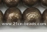 CSB2315 15.5 inches 14mm round wrinkled shell pearl beads wholesale