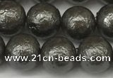 CSB2323 15.5 inches 10mm round wrinkled shell pearl beads wholesale