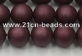 CSB2451 15.5 inches 6mm round matte wrinkled shell pearl beads
