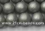 CSB2492 15.5 inches 8mm round matte wrinkled shell pearl beads