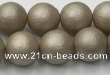 CSB2503 15.5 inches 10mm round matte wrinkled shell pearl beads