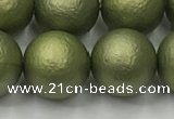 CSB2525 15.5 inches 14mm round matte wrinkled shell pearl beads