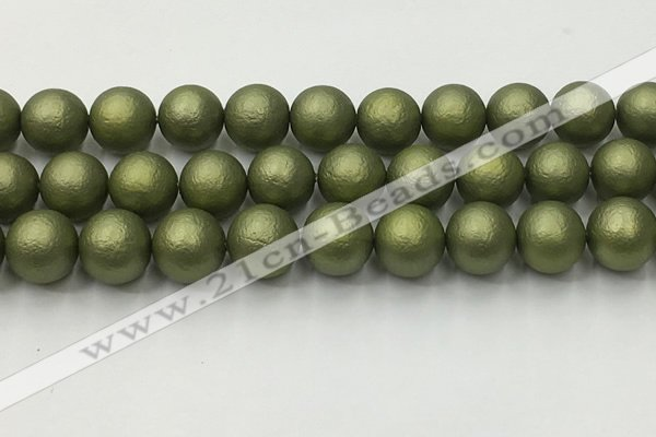 CSB2526 15.5 inches 16mm round matte wrinkled shell pearl beads