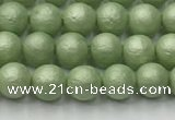 CSB2530 15.5 inches 4mm round matte wrinkled shell pearl beads