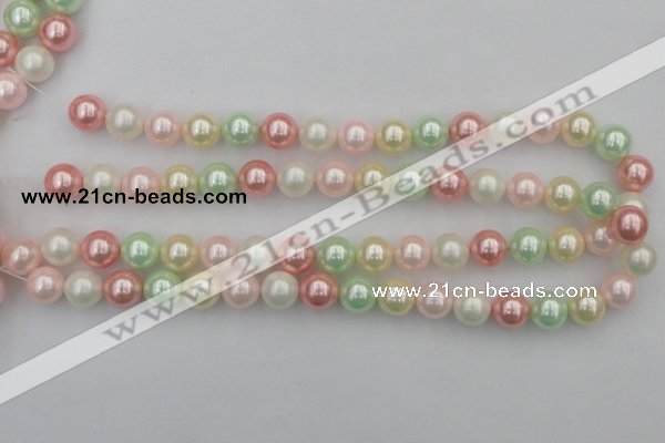 CSB352 15.5 inches 12mm round mixed color shell pearl beads