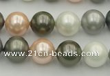 CSB363 15.5 inches 12mm round mixed color shell pearl beads